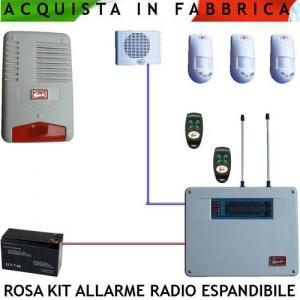 Kit rosa impianto allarme casa volumetrico radio filo 5 - Impianto radio casa ...