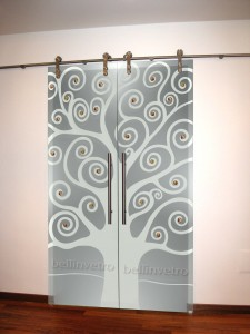 Porte laccate con vetri sabbiati decorati 387 corleone - Porte interni palermo ...