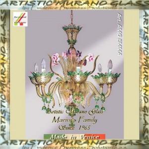 lampadari murano offerte : Lampadario in vetro di Murano, Fume con decoro verde e pasta rosa_Art ...
