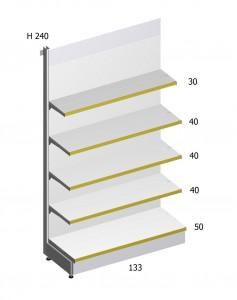 Scaffalatura per negozi metallica h 240 cm 133 base 50 for Sev arredamenti