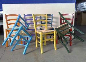 Sedie In Legno Colorate : Sedia rustica legno manzano