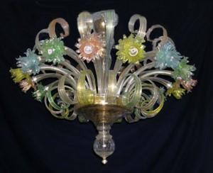 Plafoniere Fiori : Plafoniera in vetro di murano con fiori bianchi e azzurri