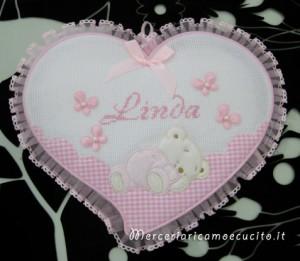 Fiocco nascita cuore rosa per Linda