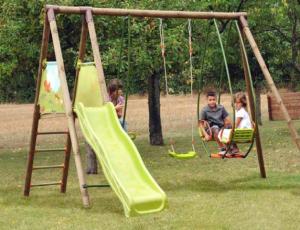 Altalena da giardino in legno con dondolo cavalluccio e for Scivolo per bambini usato