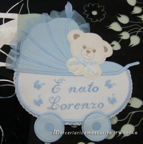 """Fiocco nascita carrozzina celeste """"E' nato Lorenzo"""""""