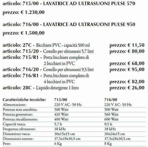 Lavatrice ad ultrasuoni pulse 950 mazara del vallo for Peso lavatrice