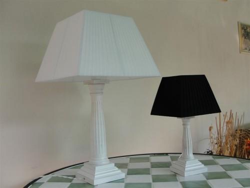 Lampadario Bianco Legno : Lampada legno colonna quadrata bianco decapato pelago