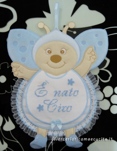 """Fiocco nascita coccinella celeste """"E' nato Ciro"""""""