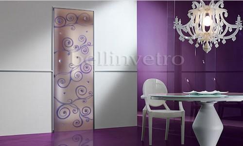 Porta in vetro satinato inciso scavato con murano corleone - Porte a soffietto colorate ...