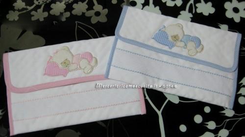 Sacchetti e buste trapuntata portaoggetti per nascita e asilo con orsetto nanna