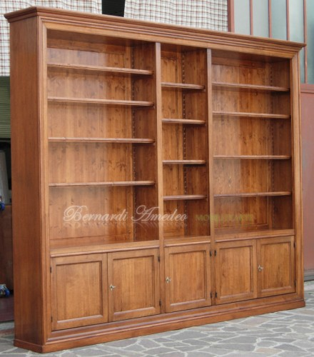 Libreria in legno massello con 5 ante : (Ros?)
