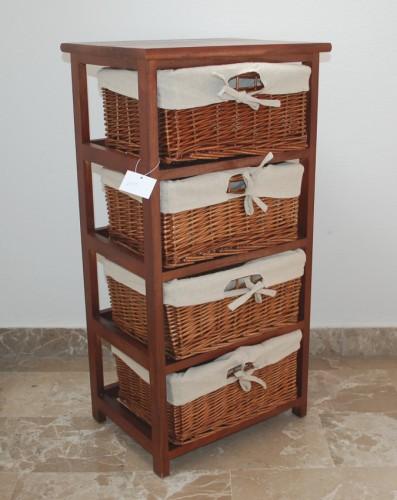 cassettiera in legno noce scuro + 4 cassetti in vimini : (santo ... - Cassettiera Legno Scuro