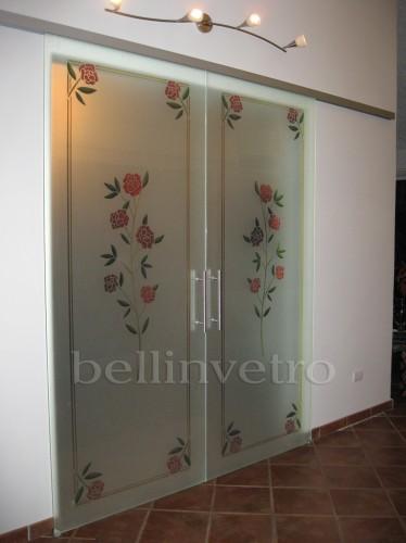 porta in vetro satinato inciso/scavato con murano : (corleone) - Vetri Sabbiati Per Porte