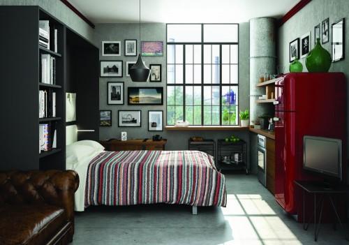Arredo monolocale industrial style lissone for Arredamento per monolocale