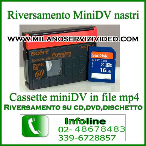 travaso cassettine 8, hi8, digital8, vhs, minidv, mini dv, su hard