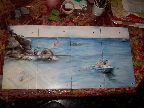 Pannello di piastrelle dipinte a mano milano - Piastrelle dipinte ...