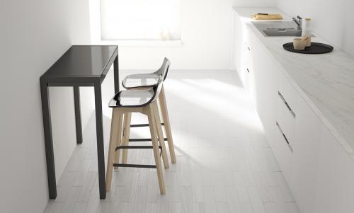 Tavolo alto per sgabelli piano vetro o ceramico alt