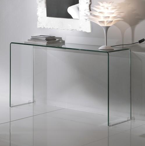 Consolle vetro curvato 125x40 tomasucci bridg 750 for Consolle in vetro per ingresso