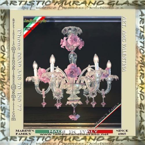 Lampadario di Murano in cristallo trasparente decoro rosa e oro, fiori ...