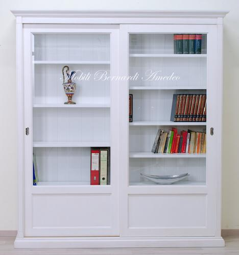 Libreria bianca con 2 ante scorrevoli ros - Libreria con ante ikea ...