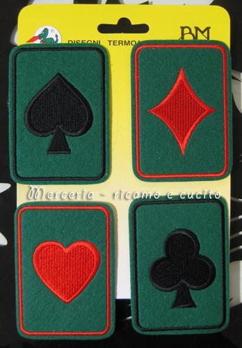 Applicazioni termoadesive poker (Cuori, fiori, quadri, picche)