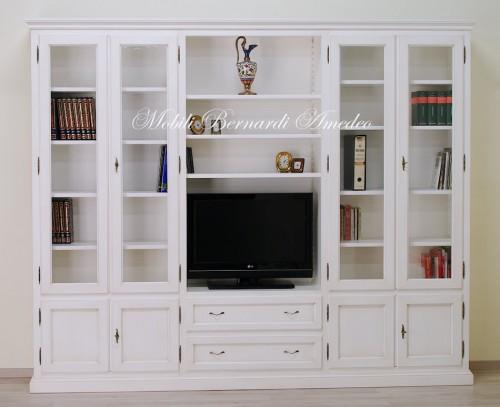 Libreria in legno massello bianco anticato ros for Mobili legno bianco anticato