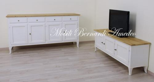 Mobili In Legno Bianco : Mobile tv in legno massello bianco top rovere ros