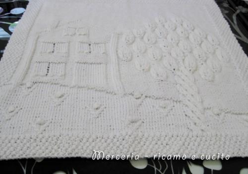 Top Copertina in cotone o lana per neonato con casetta e albero  EQ35