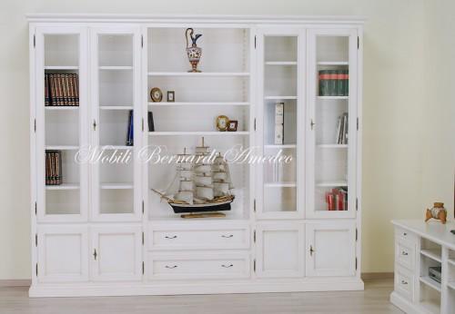 Mobili In Legno Bianco : Libreria in legno massello bianco anticato ros