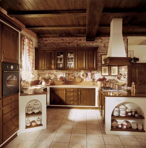 Cucina in finta muratura in legno di massello arluno - Cucine in finta muratura ...