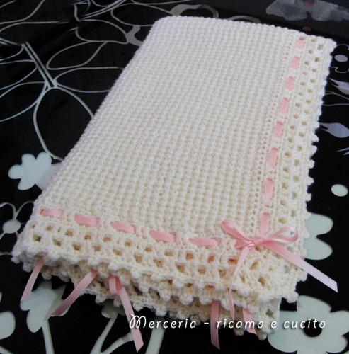 Top Copertina bebè lavorata in lana per neonato : (Grottaglie) CR15