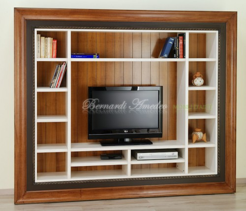 Libreria porta Tv con cornice : (Rosà)