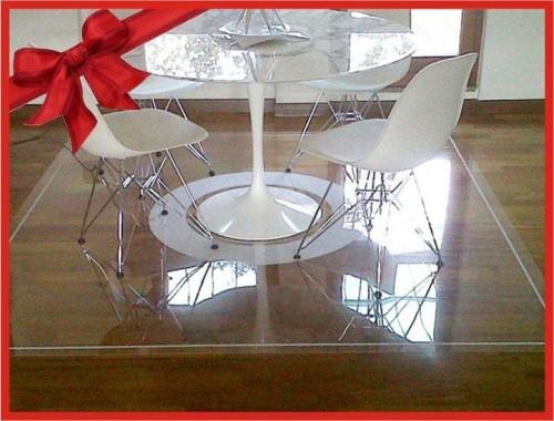 Protezioni per parquet e tavoli di design da graffi tappeti trasparenti come cristallo su - Tappeto sotto tavolo ...