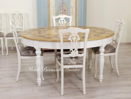 Tavolo Ovale Allungabile Bicolore Intarsiato Ros