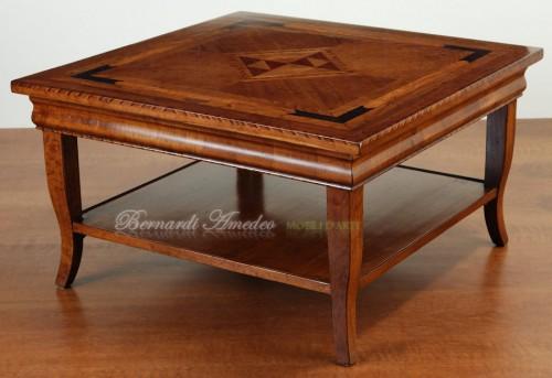 Tavolino da salotto in noce con coperchio lavorato ros - Tavoli da fumo in legno ...