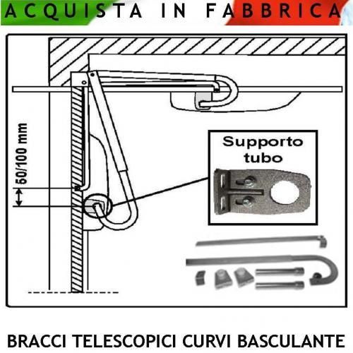 Kit bracci telescopici curvi per serranda basculante for Porta basculante per cani fai da te