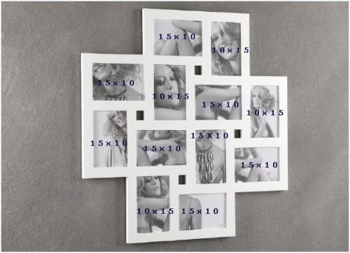 Cornice portafoto multipla tomasucci 12 foto bianca 782 for Cornici per foto 10x15