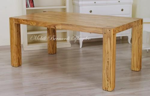 Tavolo stile moderno in olivo massello ros - Tavoli da pranzo allungabili legno massello ...