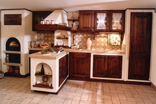 Cucina in finta muratura in legno di massello arluno - Rivestimenti per cucine classiche ...