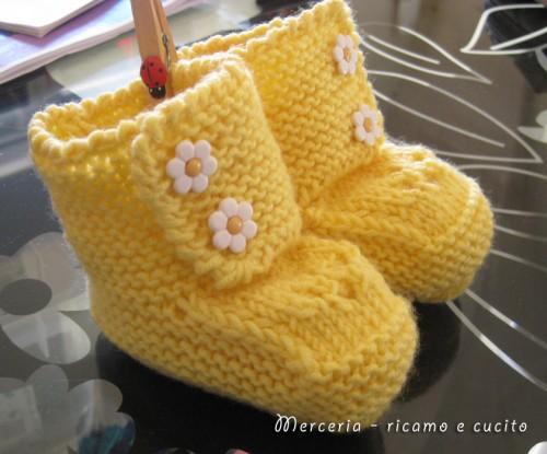 Scarpette neonato di lana ai ferri (LB41)