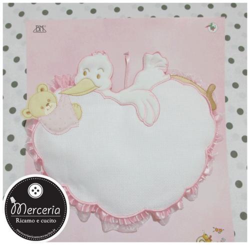 Fiocco nascita cicogna con orsetto su nuvola rosa per bambina