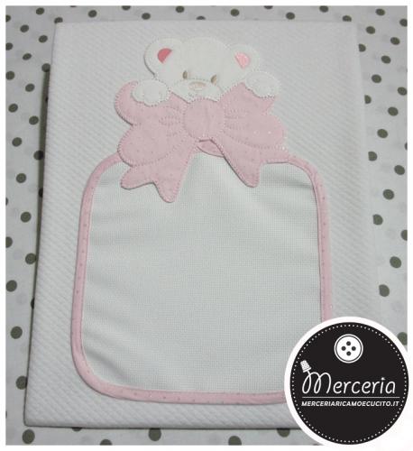 Copertina in cotone con orsetto strass rosa
