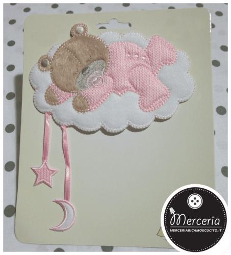 Applicazione termoadesiva orsetto su nuvola con stellina e luna rosa