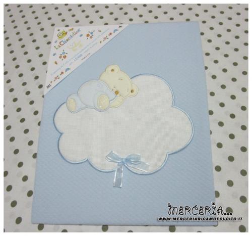 Copertina celeste per neonato con orsetto e nuvola