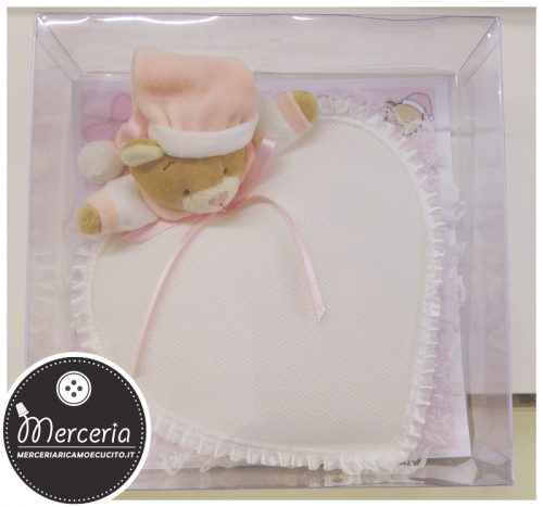 Fiocco nascita cuore con orsetto rosa per bambina