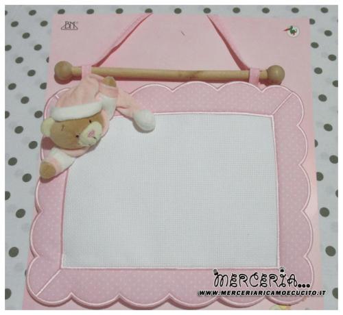 Fiocco nascita quadretto rosa con orso per bambina