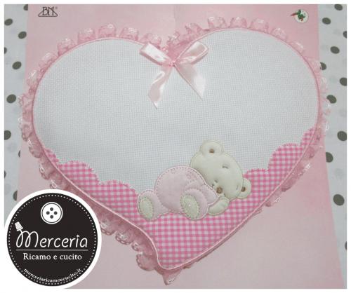 Fiocco nascita cuore rosa per bambina