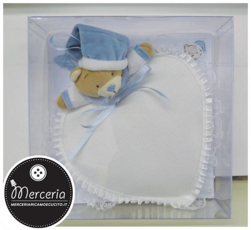 Fiocco nascita cuore con orsetto celeste per bambino