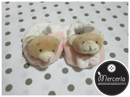 Scarpette babbucce rosa per neonata con orsetto