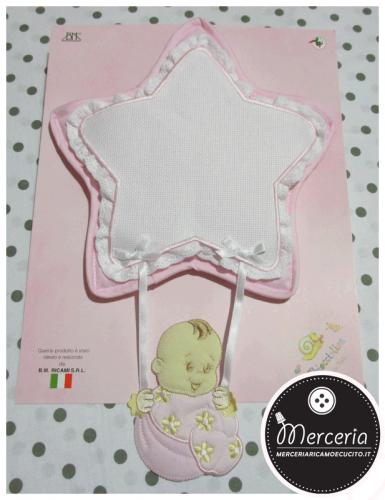 Fiocco nascita stella rosa per bambina